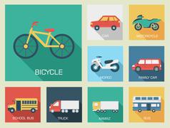 Flat cars icon backgrounds concept set illustration design. Tamp Piirros