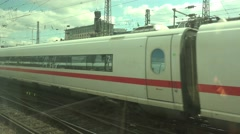 4k ICE train arrival and departure Frankfurt city station Stock Footage