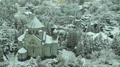 Armenian church in Yalta  in winter Stock Footage