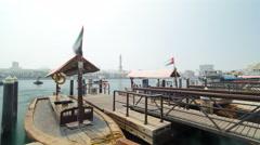 Boats at Port Saeed along Deira's shore of Dubai Creek, UAE. Timelapse Stock Footage