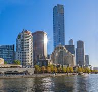 Melbourne Footbridge and Eureka tower Stock Photos