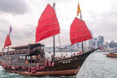 HONG KONG - APRIL 14, 2014: Famous Aqua Luna boat in Hong Kong Port. It is ow - stock photo