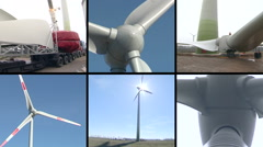 Wind turbine parts assembly works. Windmills spin. Video collage Stock Footage