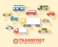 Flat cars concept set icon backgrounds illustration - stock illustration