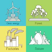 Flat set of ecology, environment, green clean energy and pollution backgrounds - stock illustration