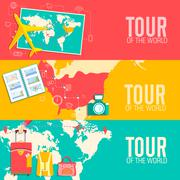 Tour of the world concept. Tourism with fast travel on a flat design style Stock Illustration