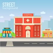 Hospital building in city space with road on flat syle background concept - stock illustration