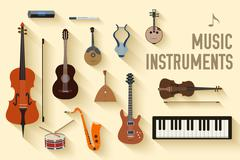 flat music instruments background concept. Vector illustrator design in retro - stock illustration