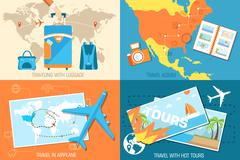 tour of the world banners concept. Tourism with fast travel on a flat design - stock illustration