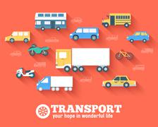 Stock Illustration of Flat cars concept set icon backgrounds illustration design. Template for web and