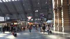 4k Tourists in Frankfurt city station panning shot Stock Footage