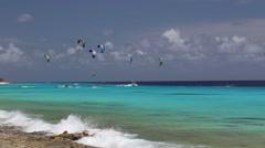 Kitesurf Caribbean Sea Stock Footage