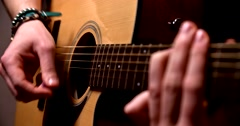 Playing acoustic guitar 7 Stock Footage