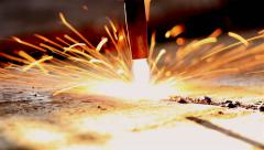 Industry steel, Sparkles, Fire gas cutting slab. Stock Footage