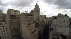 Aerial View of the Banespa building in Sao Paulo Downtown City, Brazil Stock Footage
