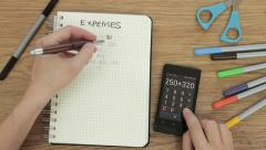 Close up of expenses being calculated, top view HD Stock Footage