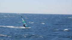 Windsurfer sailing fast in the Red Sea - stock footage