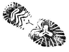 Single black fingerprint - simple monochrome image Stock Illustration
