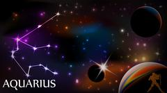 Aquarius Astrological Sign and copy space - stock illustration