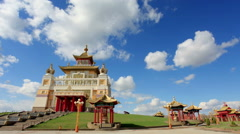 Clouds over the Buddhist temple. Golden Abode of Buddha Shakyamuni in Elista - stock footage