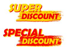 super and special discount, yellow and red drawn labels - stock illustration