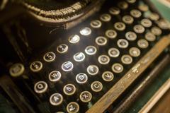 Close up of antique typewriter keyboard Stock Photos