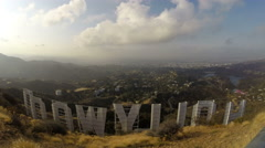 Stock Video Footage of Hollywood Sign Morning Time Lapse
