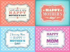 Happy Mothers day card set. Typography letter font type Stock Illustration
