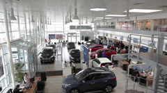 Top view of car dealership showroom - stock footage