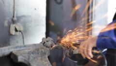 Men at Work Grinding steel SLOW MOTION 03 Stock Footage