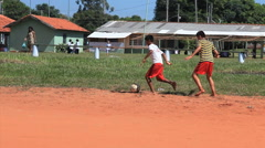 Brazilian indigenous kids playing soccer, Brazil - childrens having fun 23 Stock Footage