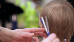Close-up of cutting hair. Stock Footage