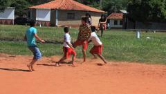 Brazilian indigenous kids playing soccer, Brazil - childrens having fun 24 Stock Footage