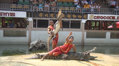 Show at Crocodile Farm in Samut Prakan Province, Thailand Stock Footage