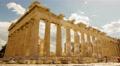 4K Acropolis parthenon site timelapse pillars bright sunny sky Footage