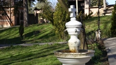 Fountain in the courtyard of the Orthodox Monastery Stock Footage
