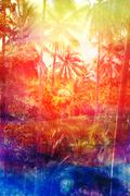 Stock Illustration of Retro watercolor palm grove