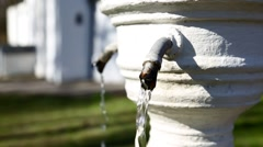 Monastery fountain with healing water, closeup Stock Footage