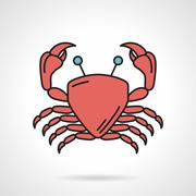 Red crab vector icon - stock illustration