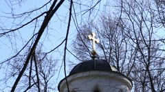 Top of the dome with golden orthodox cross Stock Footage