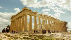 Stock Video Footage of 4K Acropolis parthenon site timelapse pillars bright sunny sky
