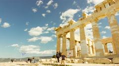 4K Acropolis parthenon site timelapse pillars bright sunny sky - stock footage