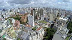 Flying over Sao Paulo city, Brazil Stock Footage