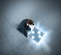 The success puzzle - stock illustration
