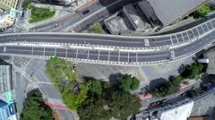 Flying over Costa e Silva Elevated Road (Minhocao) in Sao Paulo Stock Footage