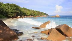 Beautiful beach Anse Lazio - stock photo