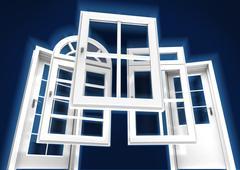 Doors and windows catalogue, blue - stock illustration