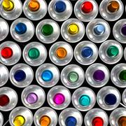 Aerial view of aerosol cans - stock photo