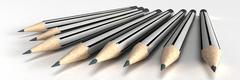 Grey stripped classic pencils - stock illustration