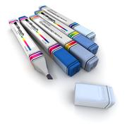Markers in blue shades - stock illustration